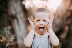 4 Year Old Boy making silly face Royalty Free Stock Images