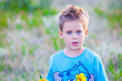 5 year old boy outdoor Royalty Free Stock Image