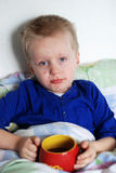 Boy with chickenpox Stock Photos