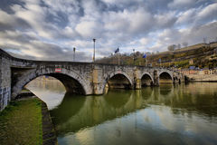 500-year old bridge between Namur and Jambes. Walloon region, Belgium Stock Image