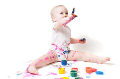 Year-old child with paint Stock Photography