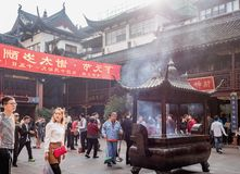 At the 600-year-old Old City God Temple, Shanghai, China. Shanghai, China - Nov 6, 2016: Inside the 600-year-old Old City God Temple, near the Wealth God Hall. A stock images