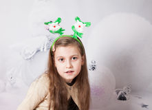 8 year old girl, Christmas portrait Stock Image