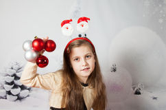 8 year old girl, Christmas portrait Stock Photos