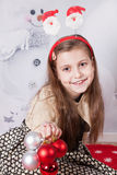 8 year old girl, Christmas portrait Royalty Free Stock Photos