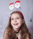 8 year old girl, Christmas portrait Stock Photos