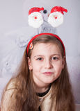 8 year old girl, Christmas portrait Royalty Free Stock Photography