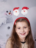 8 year old girl, Christmas portrait Stock Photo