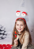 8 year old girl, Christmas portrait Royalty Free Stock Photo