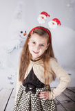 8 year old girl, Christmas portrait Royalty Free Stock Images