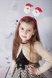 8 year old girl, Christmas portrait Stock Photo