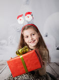 8 year old girl, Christmas portrait Stock Images
