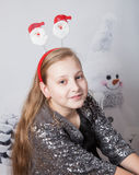 10 year old girl Christmas portrait Stock Photos