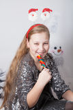 10 year old girl Christmas portrait Stock Photo