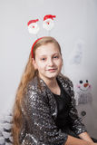 10 year old girl Christmas portrait Royalty Free Stock Photos