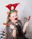 10 year old girl Christmas portrait Royalty Free Stock Photo