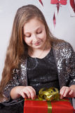 10 year old girl Christmas portrait Stock Photography