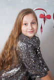 10 year old girl Christmas portrait Stock Images