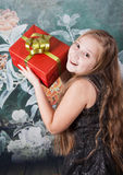 10 year old girl with gift stock photo