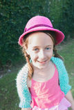 9 year old girl in a pink dress Royalty Free Stock Images