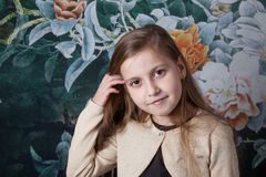 8 year old girl portrait in studio Royalty Free Stock Photography