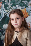 8 year old girl portrait in studio Royalty Free Stock Photo