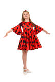 11 year old girl in a red dress Stock Photography
