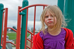 4 Year Old Girl Upset and Pouting at Playground Royalty Free Stock Image