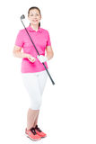 30-year-old golfer with a golf club in full length on white. Background Royalty Free Stock Photography