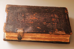 100 year old leather book. Has that beautiful patina that only centuries can create.  stock image