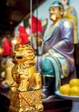 At the 600-year-old Old City God Temple, Shanghai, China. Shanghai, China - Nov 6, 2016: In the 600-year-old Old City God Temple. A small decorative wooden lion stock images