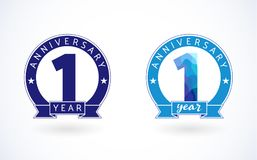 1 year old stained-glass blue colored logotype. vector illustration
