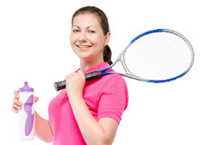 30-year-old tennis player with a racquet and a bottle of water Royalty Free Stock Images