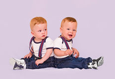 Year-old twins boys Stock Photography