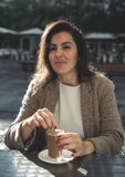 40 year old woman drinking coffee Stock Photos