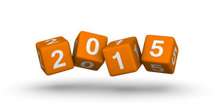 2015 year. Orange cubes symbol stock illustration
