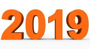 Year 2019 orange 3d numbers isolated on white. 3d rendering stock illustration