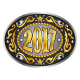 2017 year oval western cowboy belt buckle, vector illustration. Eps available Royalty Free Stock Photography