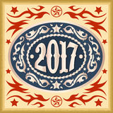 2017 year oval western cowboy belt buckle. Vector illustration - eps available stock illustration