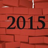 Year 2015. 2015 over breaking brick wall, 3d render image Royalty Free Stock Photography