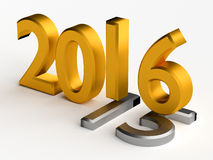 2016 year over 2015. Gold numbers of New Year 2016 over grey old 2015 Stock Images