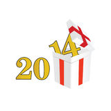 2014 year with a package and surprises vector. Illustration Stock Photo