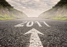 Year 2017 painted on the road Royalty Free Stock Photos