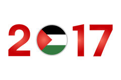 Year 2017 with Palestine Flag. New Year 2017 with Palestine  Flag Isolated on White Background - Vector Illustration Royalty Free Stock Photos