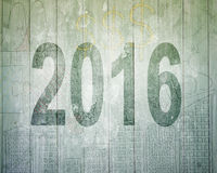 2016 year pass concept. Dark green number on old doodles wooden wall background Stock Photo