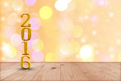 2016 year.  in perspective wood with blur bokeh wall and wooden. Plank floor Stock Photography