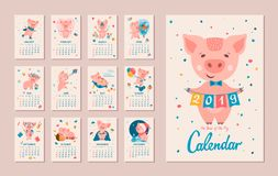 2019 Year of the PIG Calendar. Monthly Calendar. Pig is a symbol of the Chinese 2019 New Year. Cute cartoon piggy in different situations. Week starts on monday stock illustration