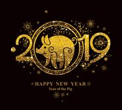 Pig 2019 in the Chinese calendar. Golden symbol on black. royalty free stock photos