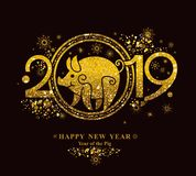 Pig 2019 in the Chinese calendar. Golden symbol on black. Year of the Pig in the Chinese calendar 2019. Golden symbol on black stock illustration