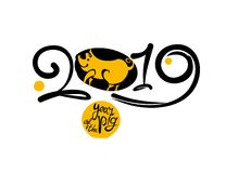 Year of the Pig 2019 on the Chinese Calendar. New Year greeting template. stock illustration